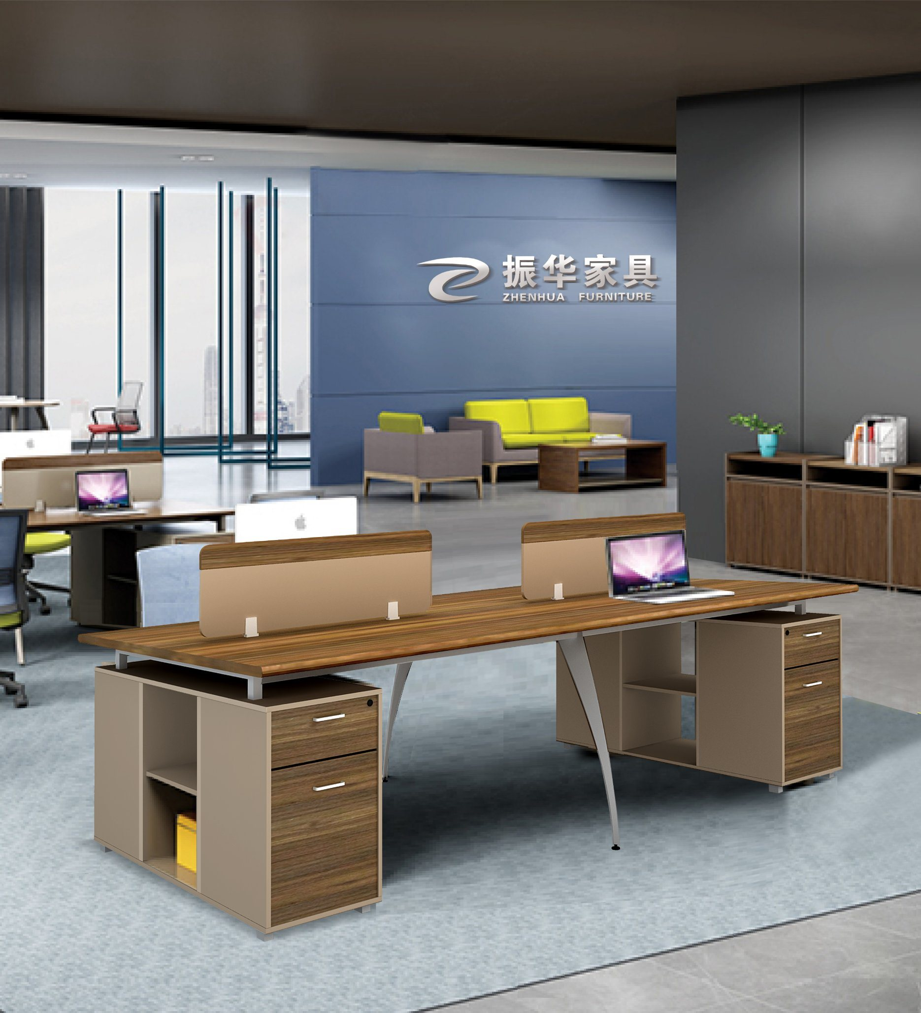 [Hot Item] Workstation Modern New Design Office Computer Desk Workstation  with Cabinet