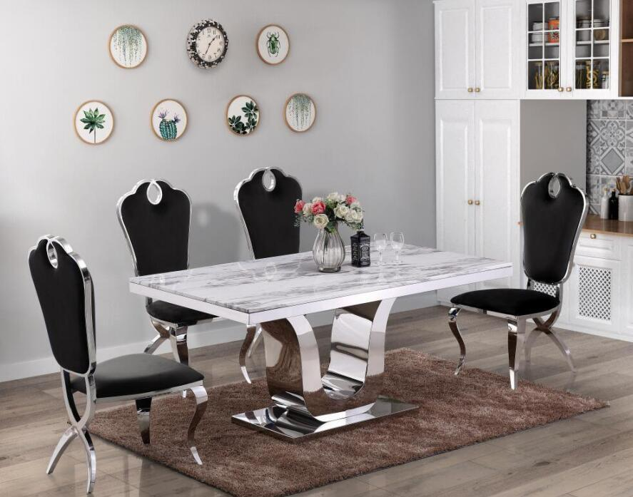 China Stainless Steel Dining Table, Modern Design Dining Room Sets