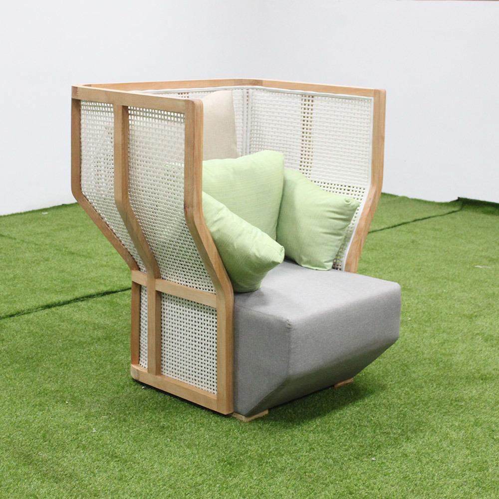 [Hot Item] Stylish Hotel Outdoor Furniture Oak Wood Garden Sofa