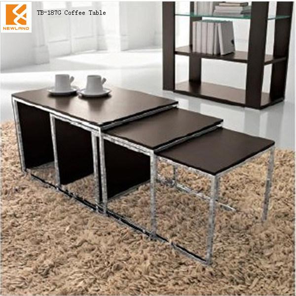 Hot Item Newland Modern Black High Golss Mdf Stainless Steel Coffee Table Legs Tb 187g