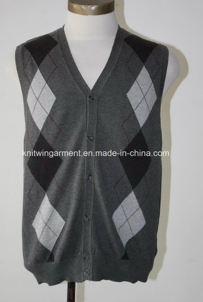 58ea15089f645 China Men Knitted V Neck Sleeveless Casual Sweater (M15-091) - China Hooded Pullover  Sweater