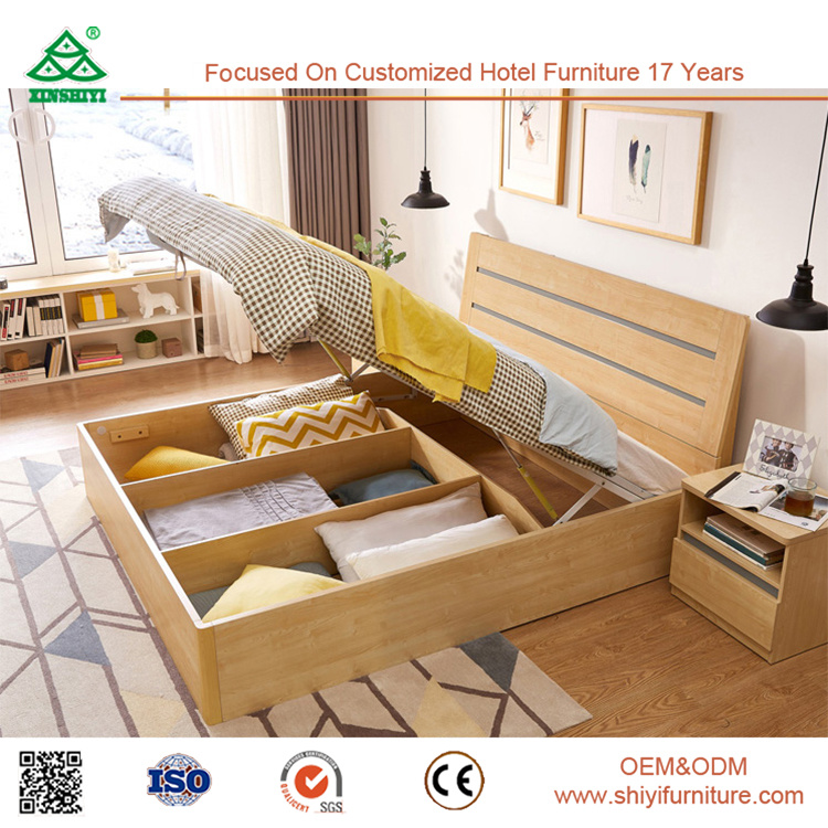 Hot Item Modern China Foshan Malaysia Mdf Wooden Bedroom Furniture Set Wood Plywood Box Bed