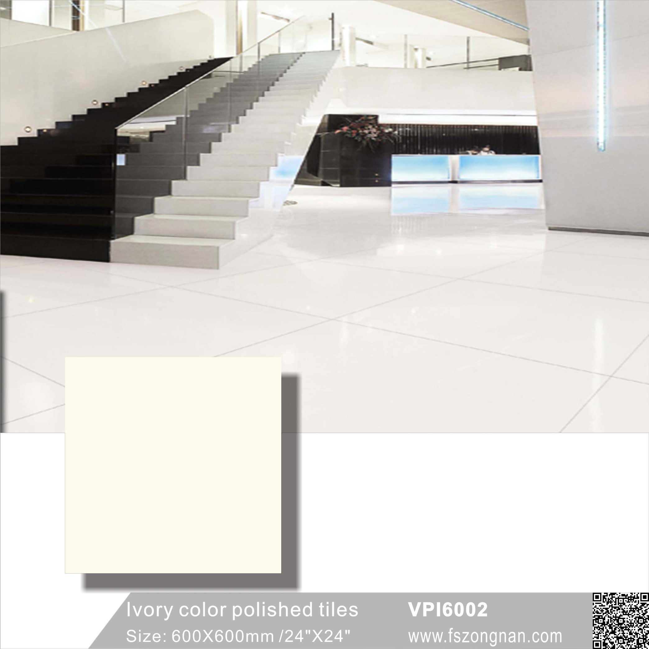 China Ivory Color Porcelain Polished Floor And Wall Tile Vpi6002 600x600mm Building Material