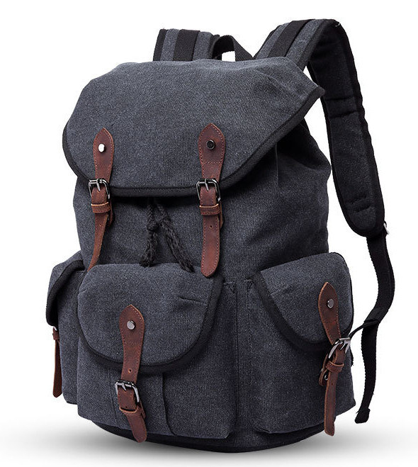 Simple European American Large-Capacity Canvas Backpacking Men′s Double Shoulder  Outdoor Travel Bag Neutral Canvas Bag aef0979d1c73b
