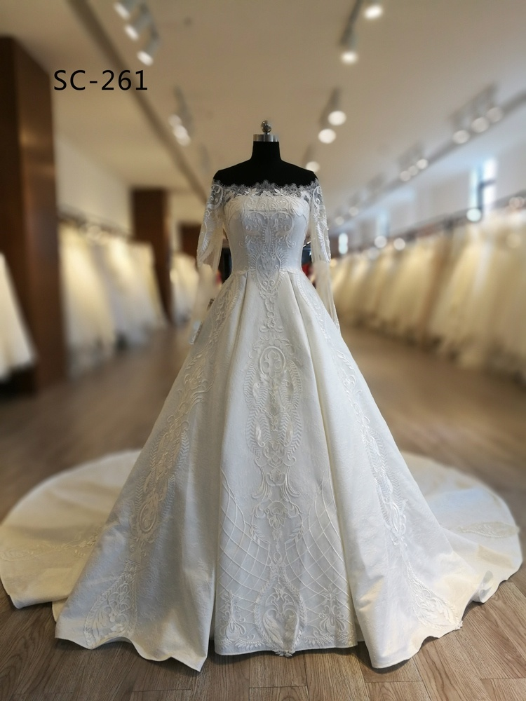 China Modern Style and Satin Fabric Type Muslim Wedding Dress Photos ...