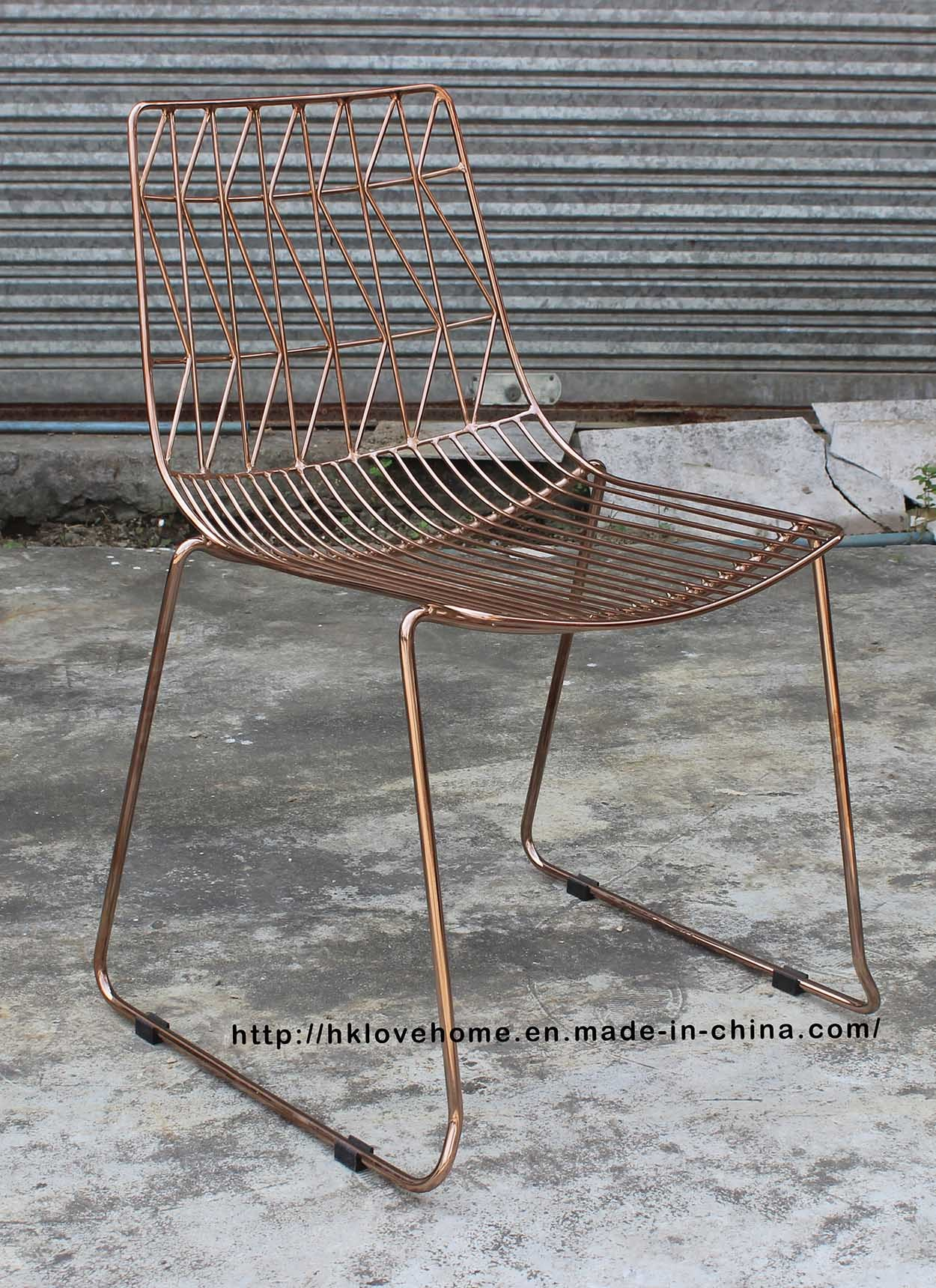 China Replica Metal Leisure Stackable Side Wire Dining Restaurant ...