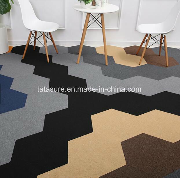 Hexagon Commercial Nylon Carpet Tiles Office Angel