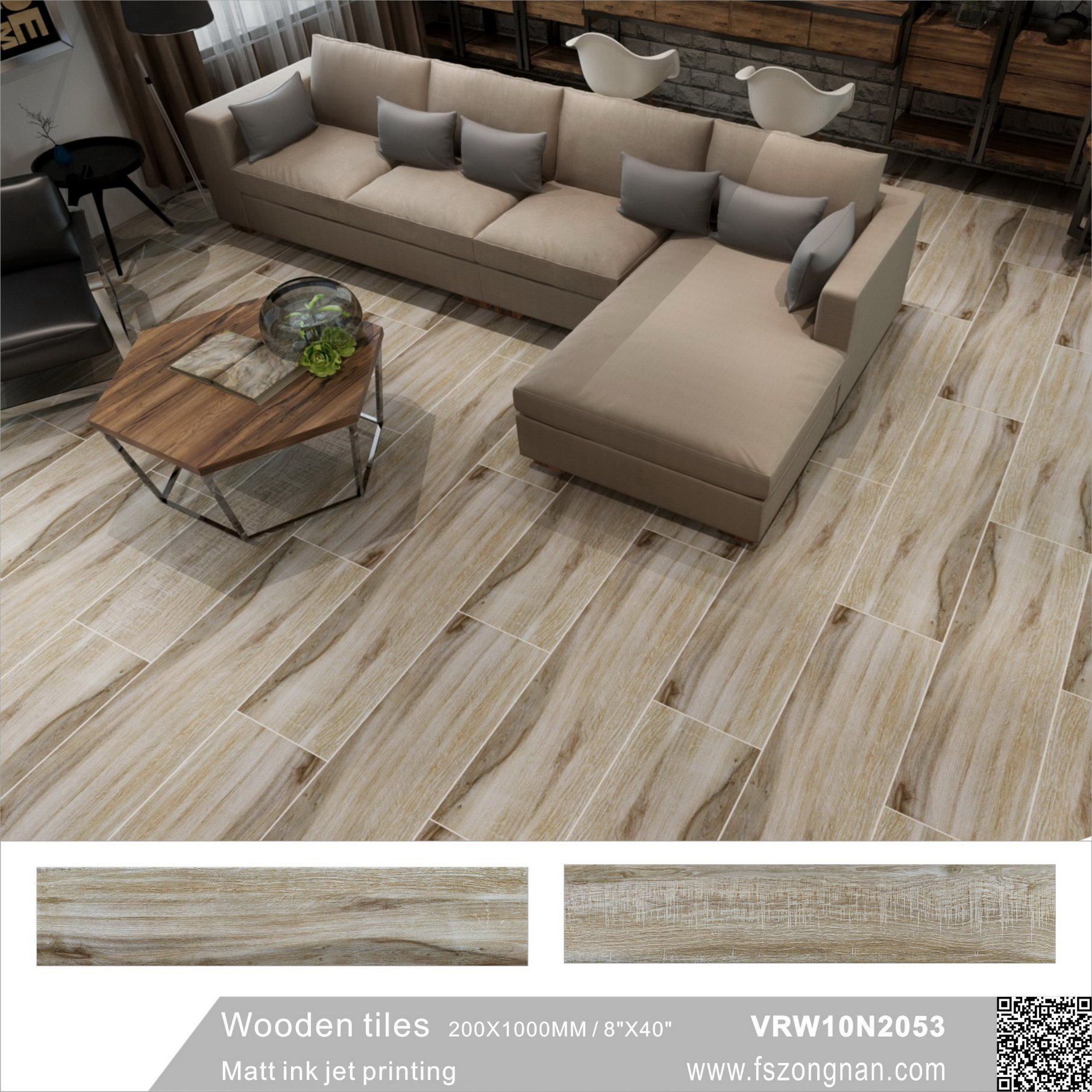 Hot Item Building Material Inkjet Wood Tile Ceramic Floor Vrw10n2053 200x1000mm