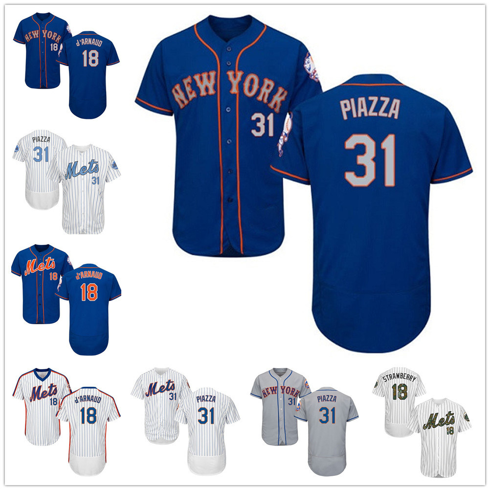 super popular 4c2b6 c2e8e [Hot Item] Mets 18#Travis D′arnaud Mike Piazza Flexbase Authentic  Collection Stitched Baseball Jersey