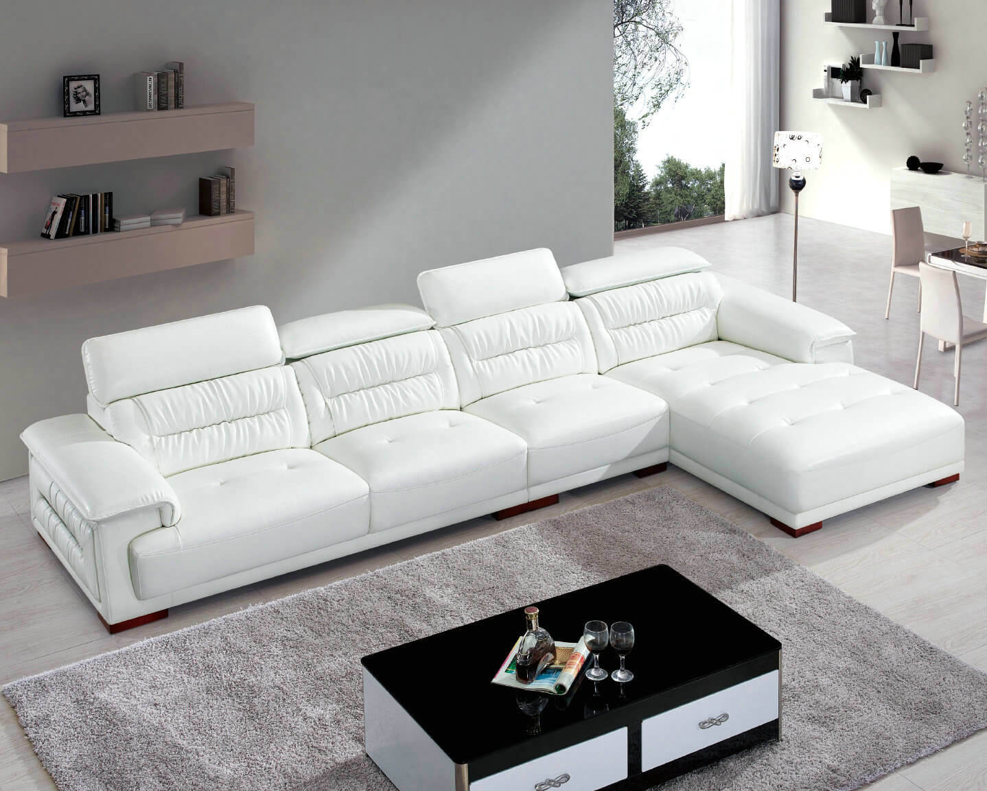 [Hot Item] Factory Wholesale Price L Shape Modern Leather Sectional Sofa  (8019)