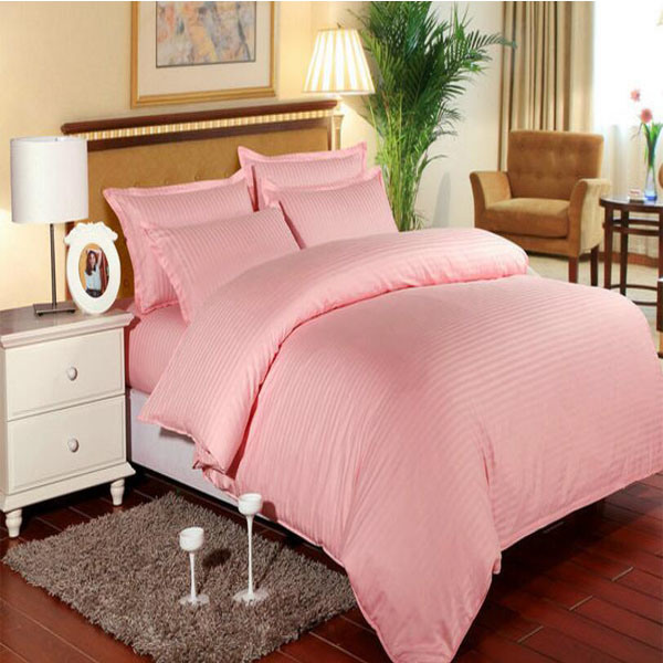 Stock Satin Stripe Bedding Set Bedsheet for Hotel/Home (DPF1059)
