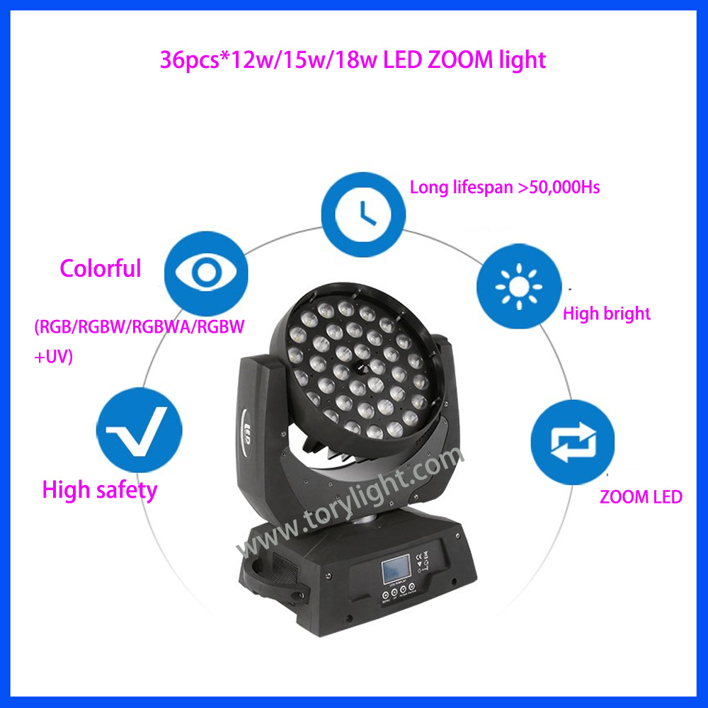 LED Zoom 36PCS*12W RGBW Moving Head Light