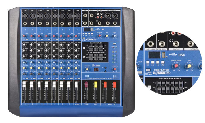 12 Channel GM12 Audio Power Mixer for Sound System