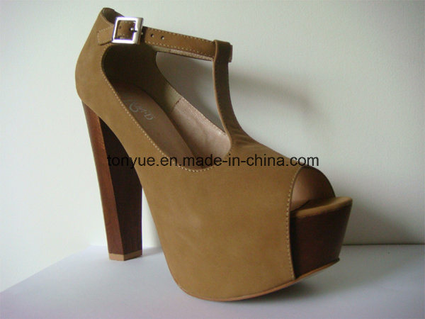 Lady Leather Thick Heel Wooden with Thick Platform Sandals pictures & photos
