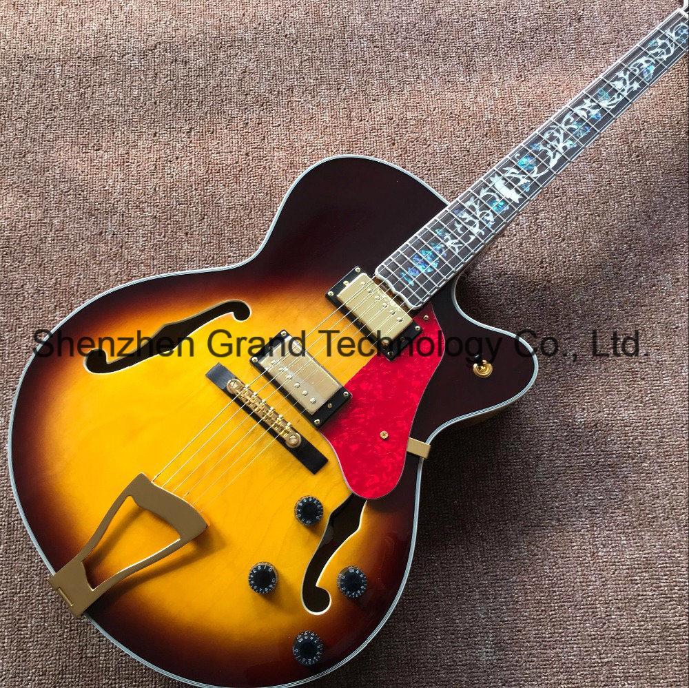 [Hot Item] DIY L5 Guitar Kits / Hollow Body L5 Electric Jazz Guitar Yellow  Maple Top (GJ-21)