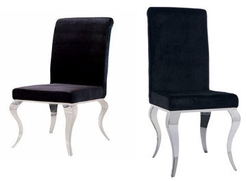 Modern Italian Leather Black Dining Chair with Stainless Steel Chrome Legs