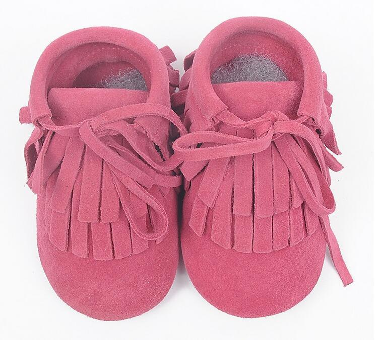 Facorty Suede Baby Shoes Hot Pink Soft