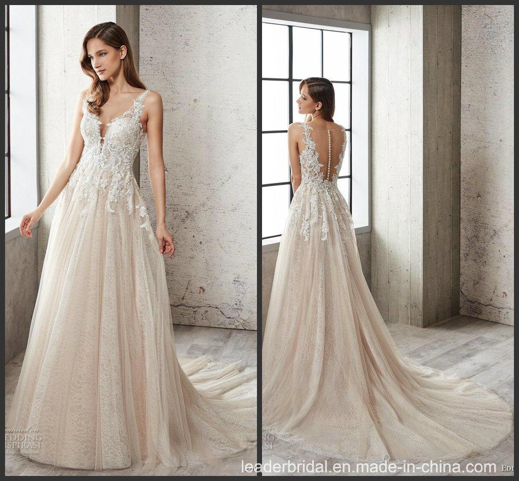 China 2019 Lace Bridal Wedding Gown Custom Champagne Wedding Dress