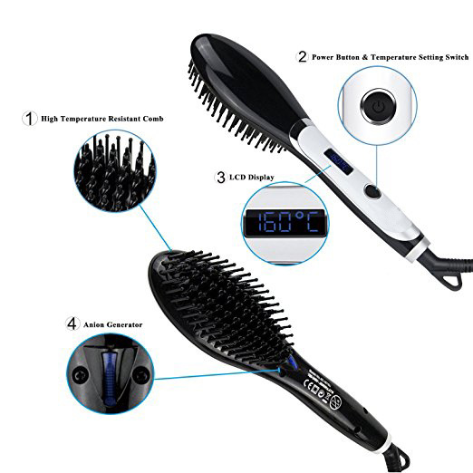 LCD Temperature Display and PTC Heater Type Beauty Electric Hair Ionic Straightener Brush pictures & photos