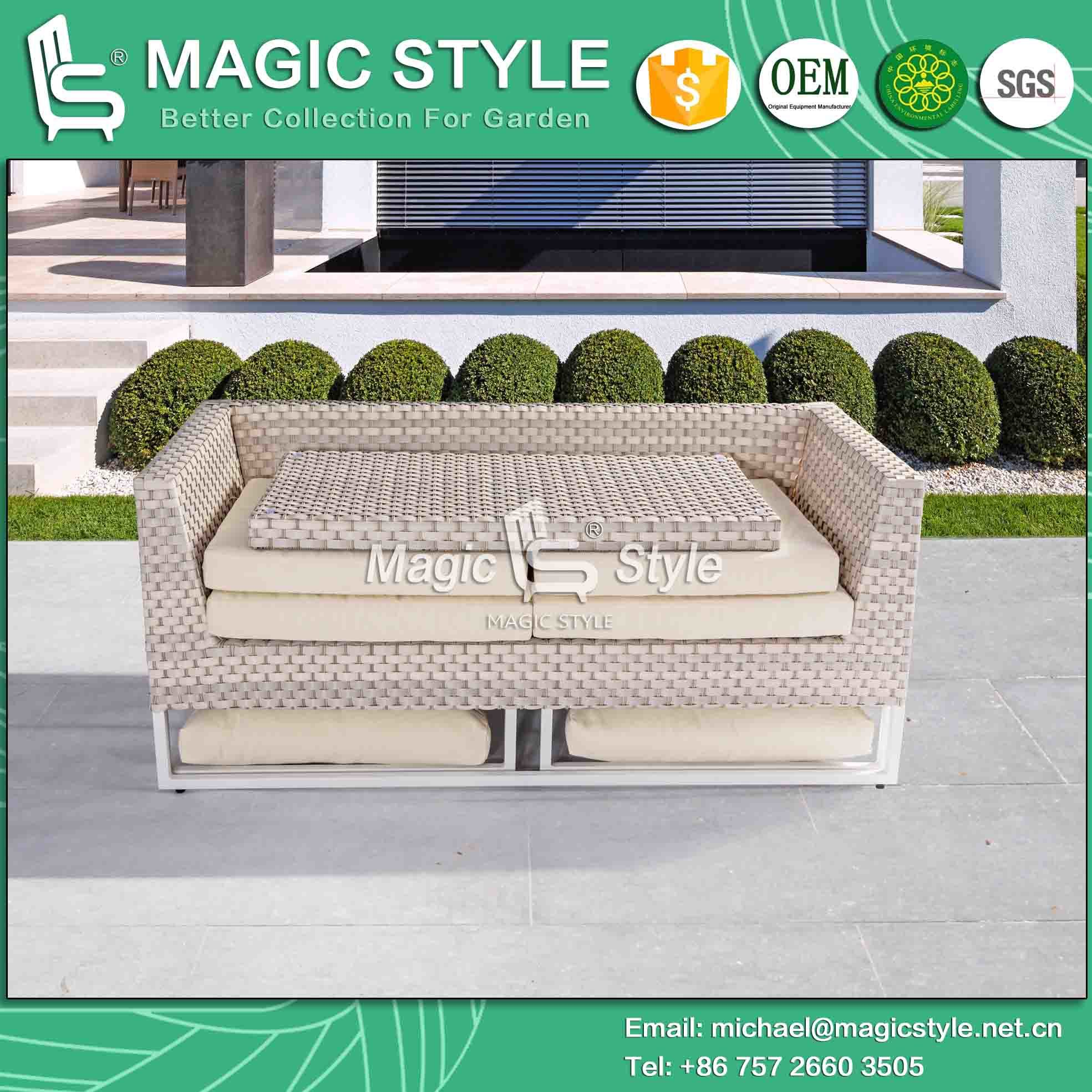 Kd Sofa with Cushion by Wicker Weaving Outdoor Sofa Set (Magic Style) pictures & photos