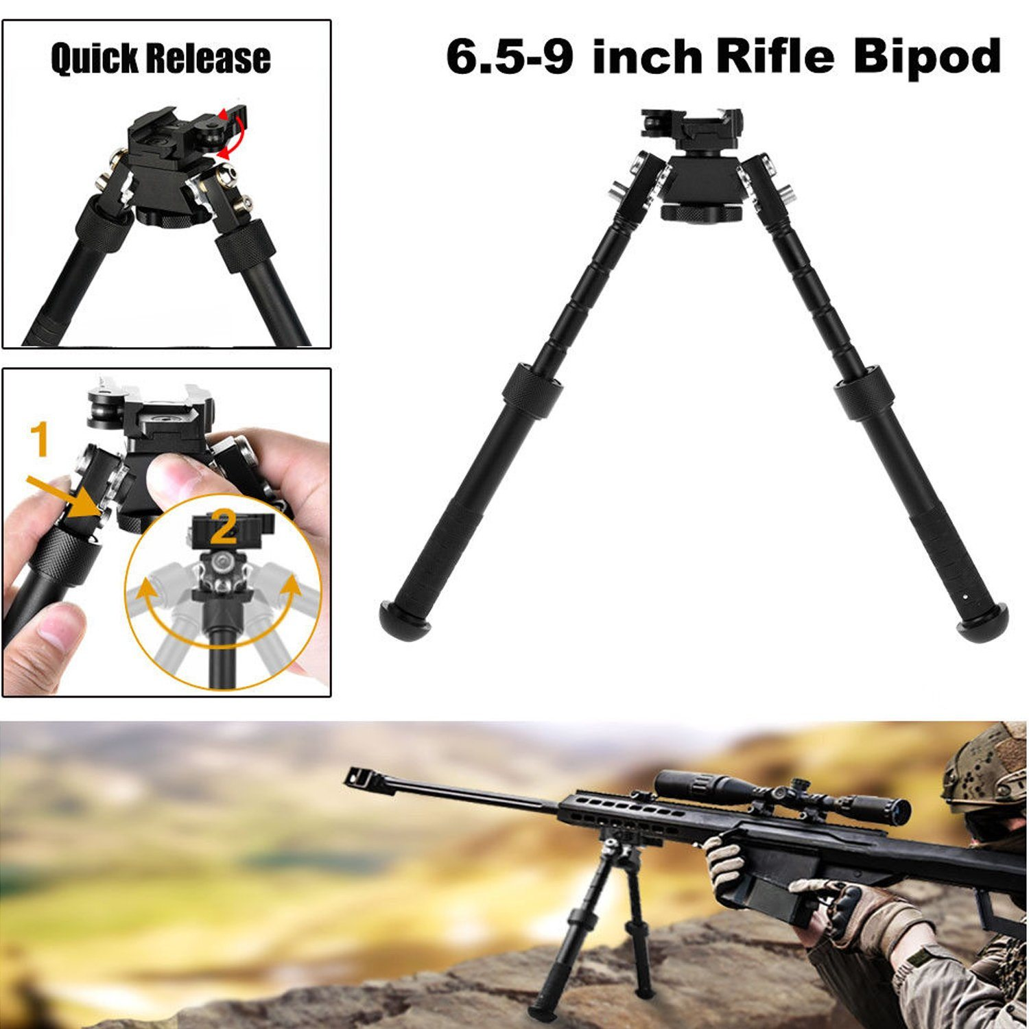 Military Tactical Rotating Swivel Pivot Bipod with Sling Mount for Rifle Air Gun