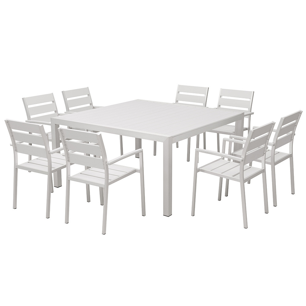 China Dining Table Set 8 Chairs White Poly Wood Plastic Dining Furniture Modern China Modern Furniture Garden Furniture Furniture