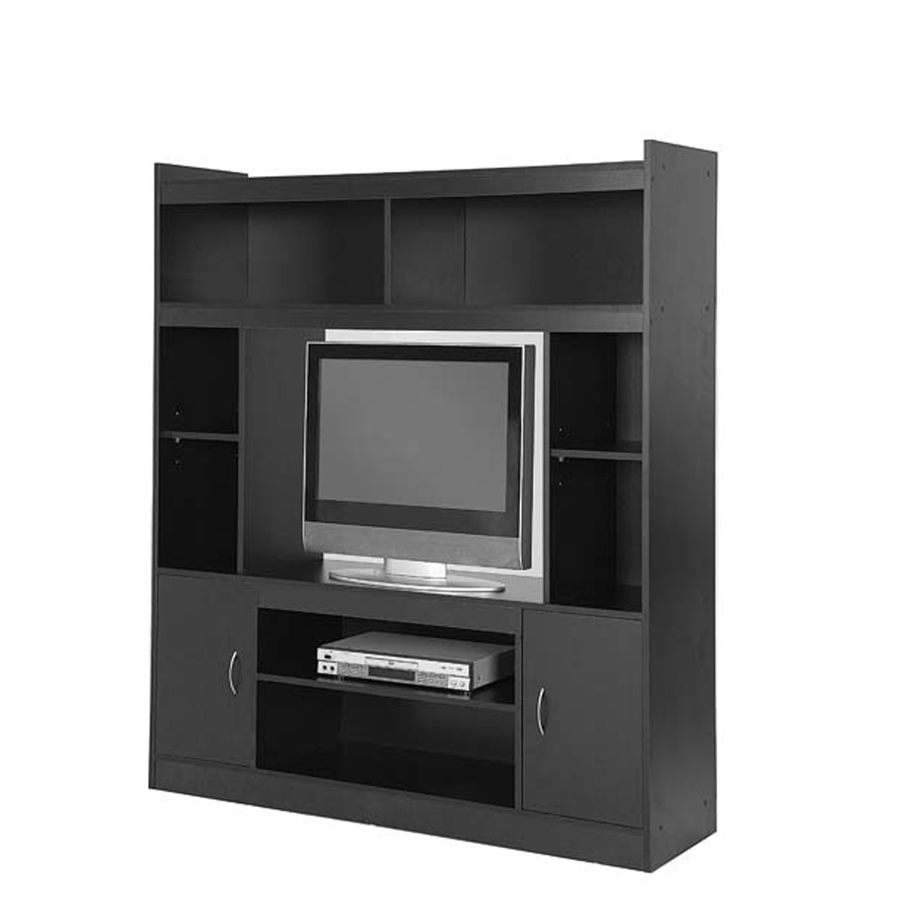 China Black Wooden Mdf Particle Board Modern Large Tv Stand With Legs Showcase Led Light