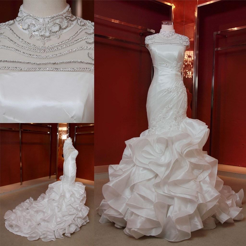 China New Design High-End Beading Satin Ruffle Skirt Mermaid Wedding ...