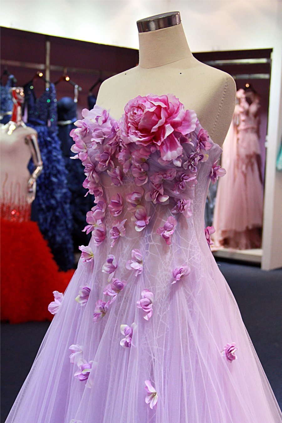 China Flowers Bodice Light Purple Ladies Fashion Party Evening Dress ...