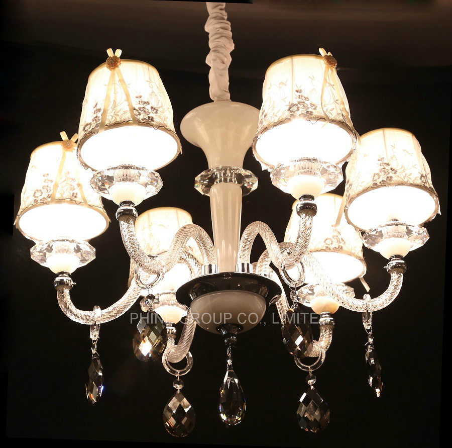 European Decoration Indoor Crystal Pendant Lighting with Fabric Shade pictures & photos