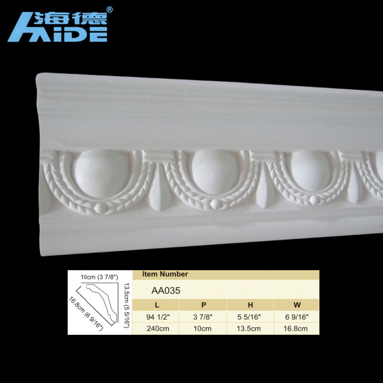 China Carved Corner Moldings PU Cornice Moulding Decoration