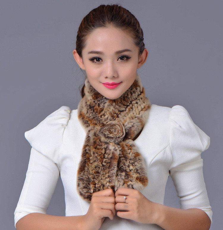 Women Fashion 100% Rex Rabbit Fur Winter Scarf (YKY4396)