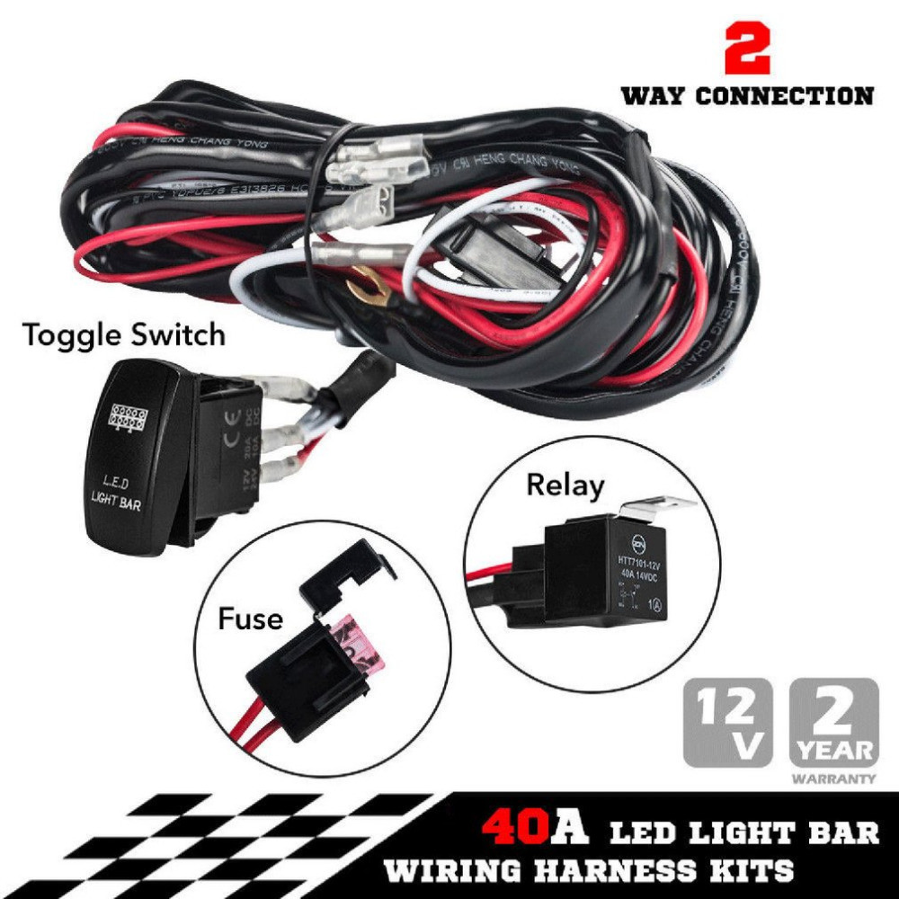 China New One-to-Two Universal LED Light Bar Wiring Harness Rocker Switch  Kits 12V 40A Relay Working Lamp Group with Quick Fitment - China Rocker  Switch, ...