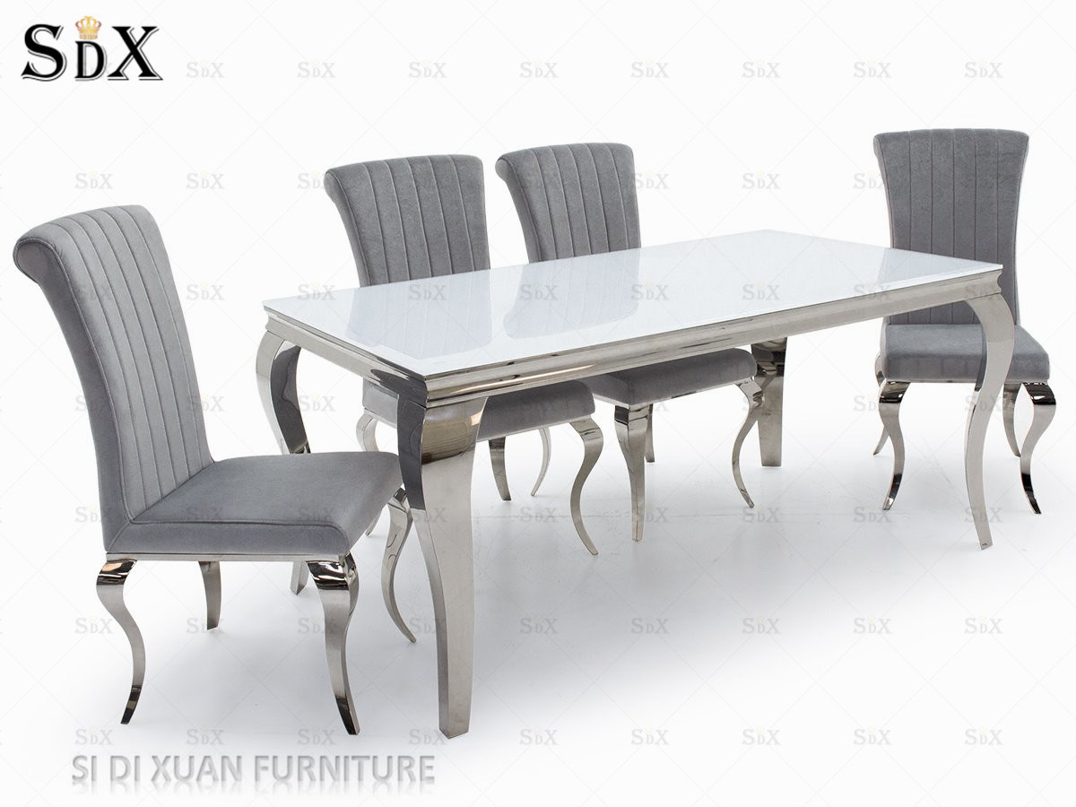 China dining room furniture stainless steel glass top modern furniture table with eight chairs china furniture dining room furniture