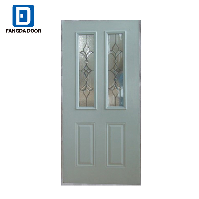 China 2 Lite 2 Panel Steel Glass Prehung Front Entry Door With Two