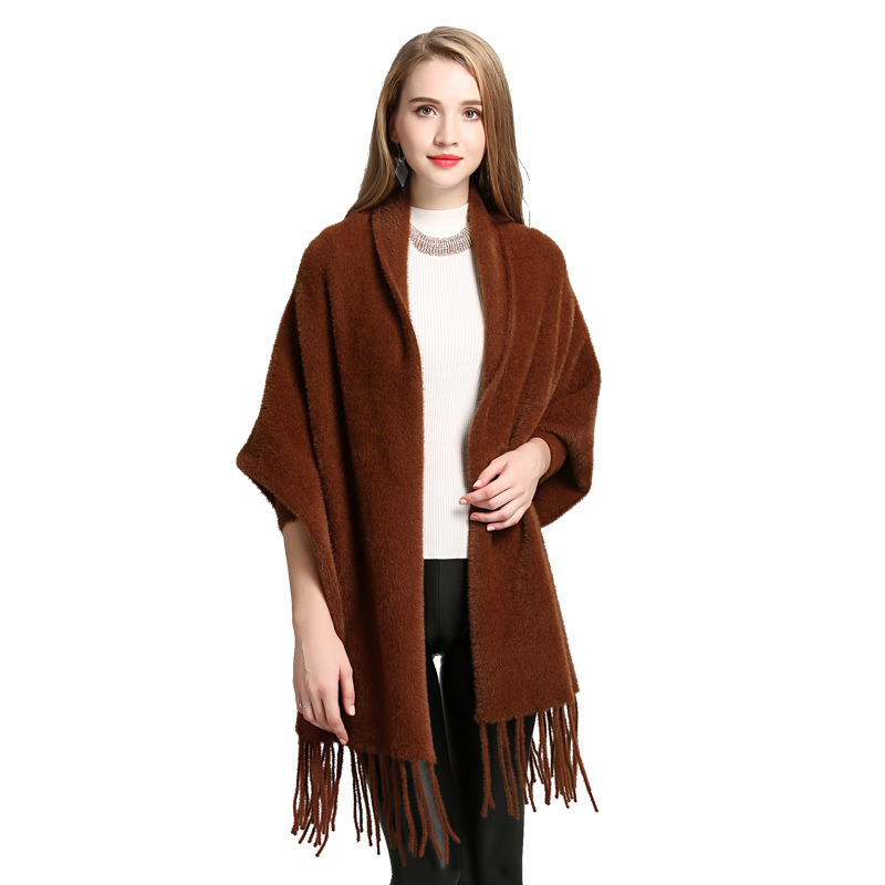 Mink Velvet Super Fringed Knitted Shawl Cardigan Shawl pictures & photos