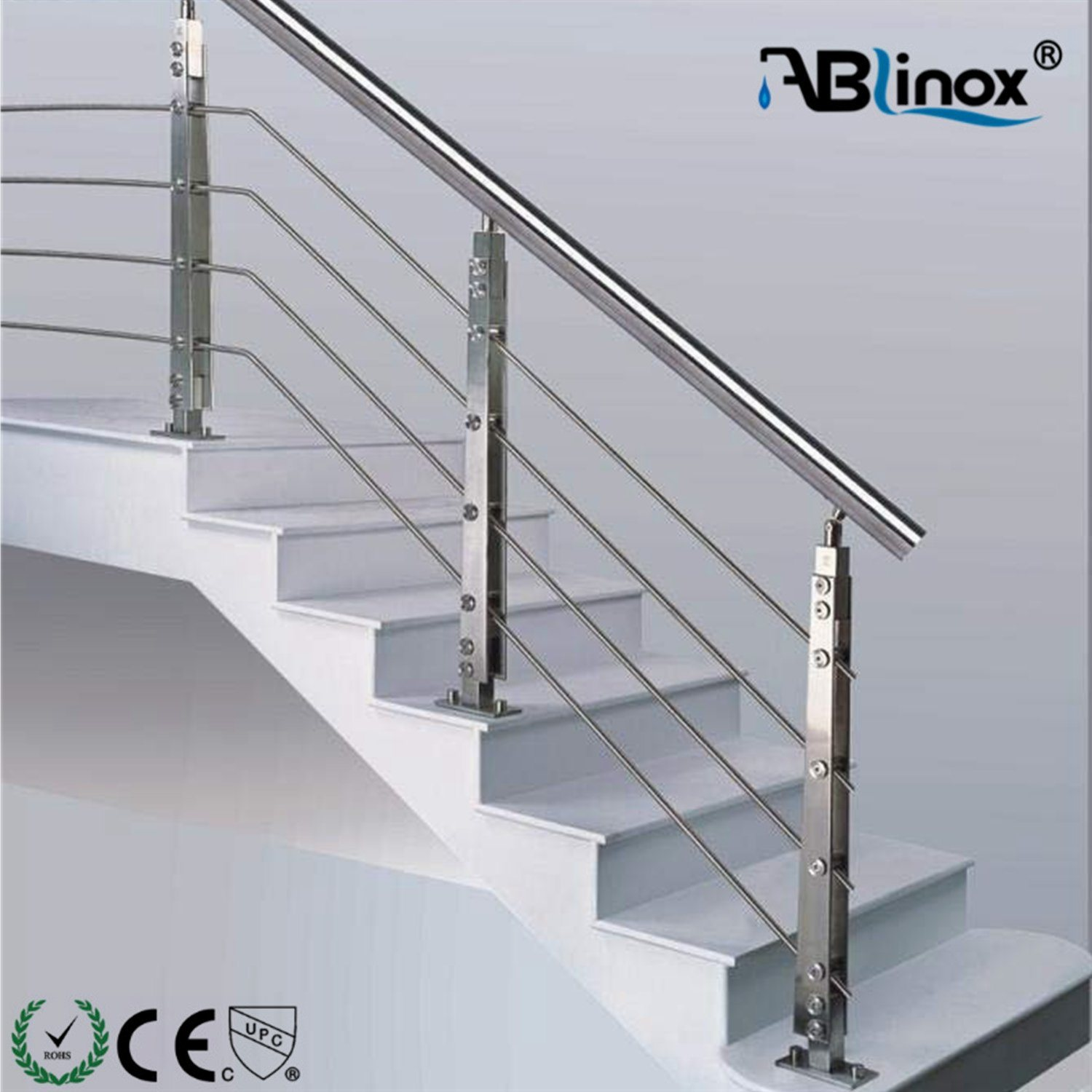 China Balcony Stainless Steel Building Material Glass And Pipe Railing System Staircase China Balustrade Stainless Steel Railing