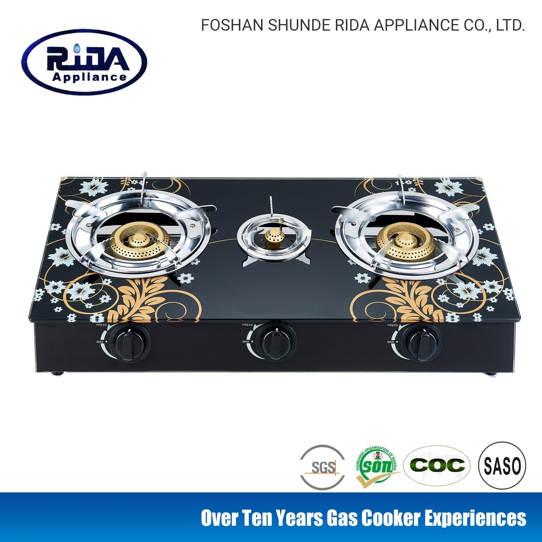China Cheap Price Pattern 3 Burner Tempered Glass Top Gas ...