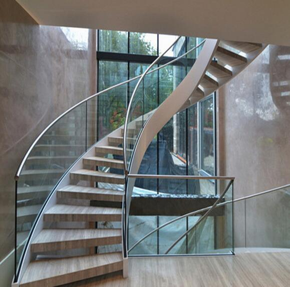 China Curved Glass Staircase With Frameless Glass Railing Stainless Steel  Handrail   China Floating Tempered Glass Staircase, Curved Stairs