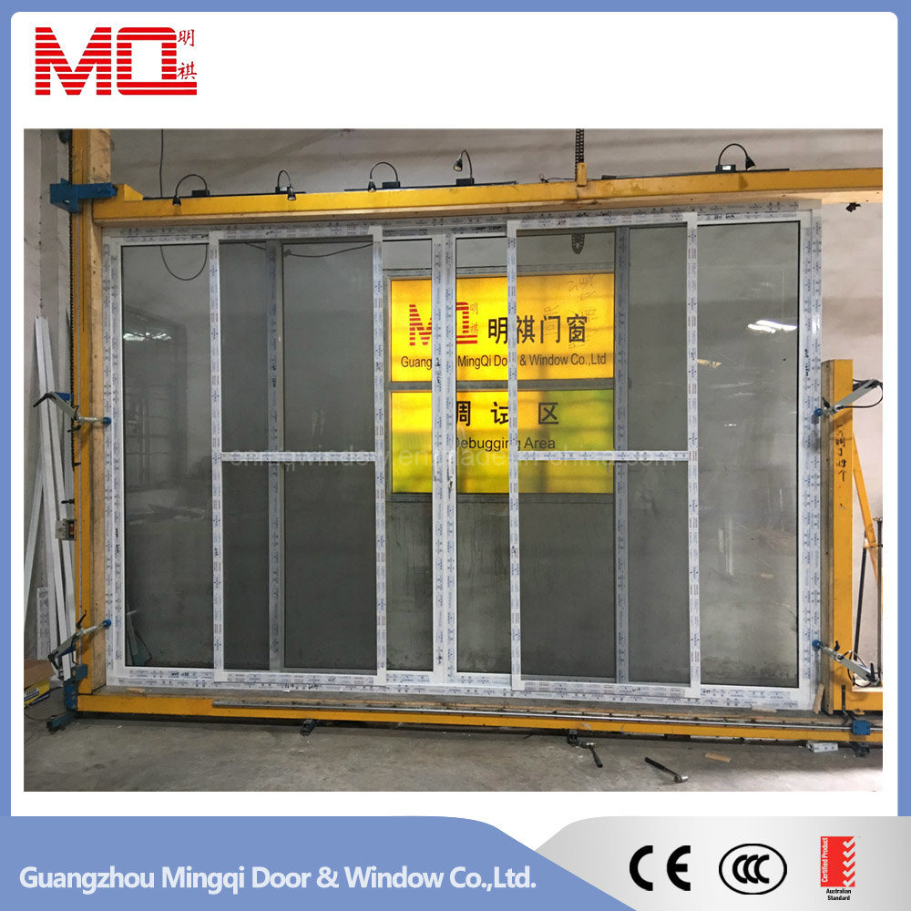 China Balcony Pvc Tempered Glass Sliding Door With Mosquito Net
