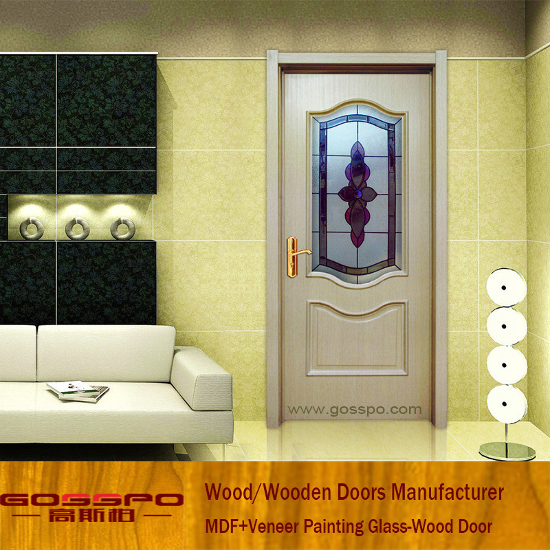 China White Paint Wooden Door Models With Frosted Glass Gsp3 043