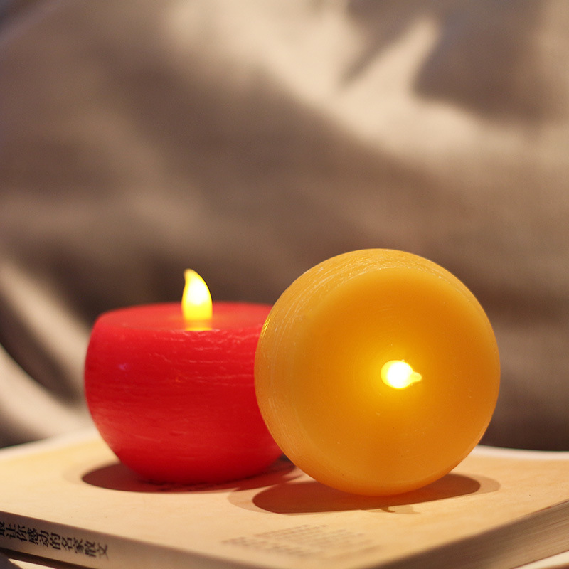 Yellow/Red Round Flameless LED Tea Light Candle for Birthday and Wedding