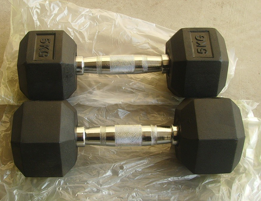 Tz-3002 Rubber Hex Dumbbell/Hot Sale Fitness Accessories with Wholes Price pictures & photos