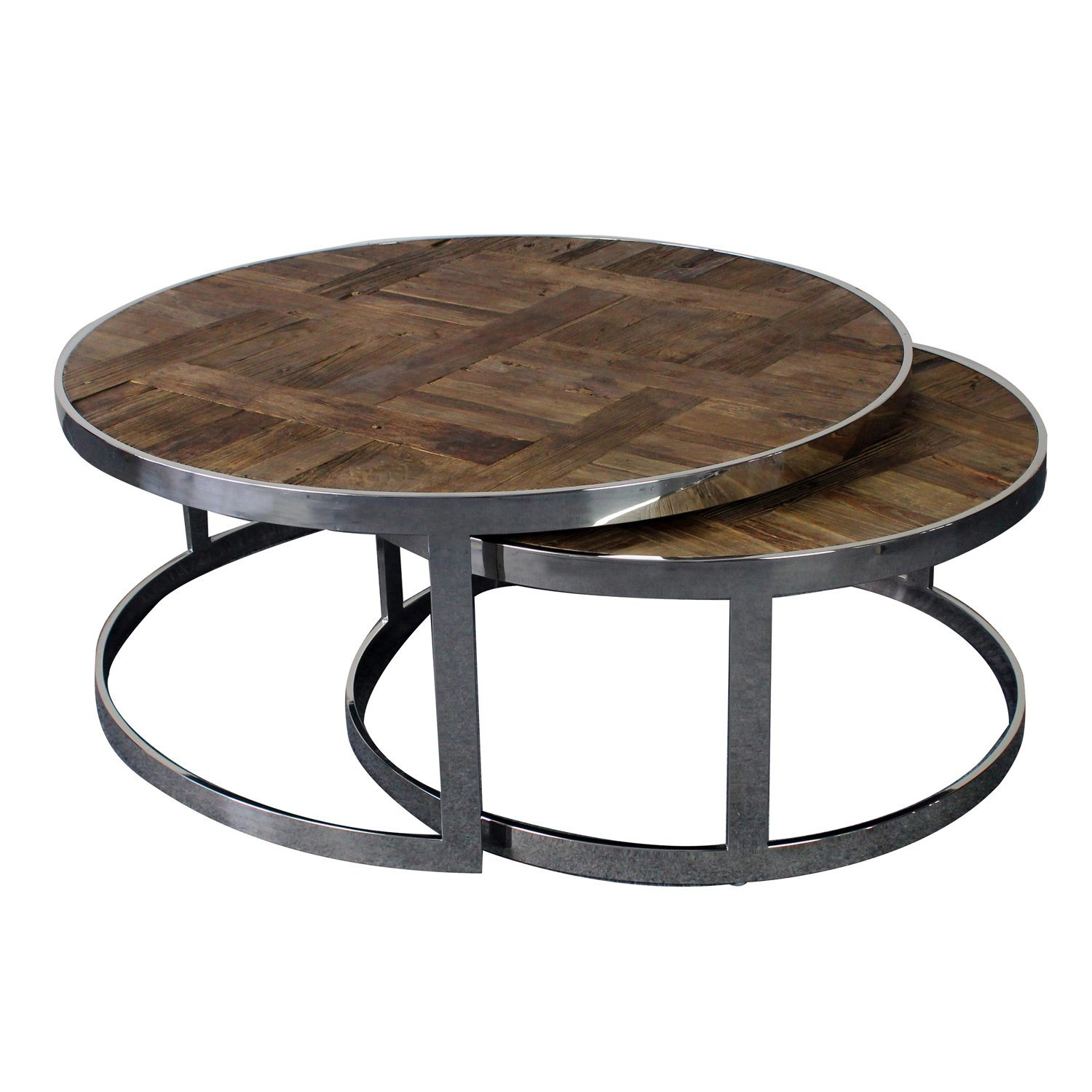 China Modern Brushed Metal Round Nesting Coffee Table Set China