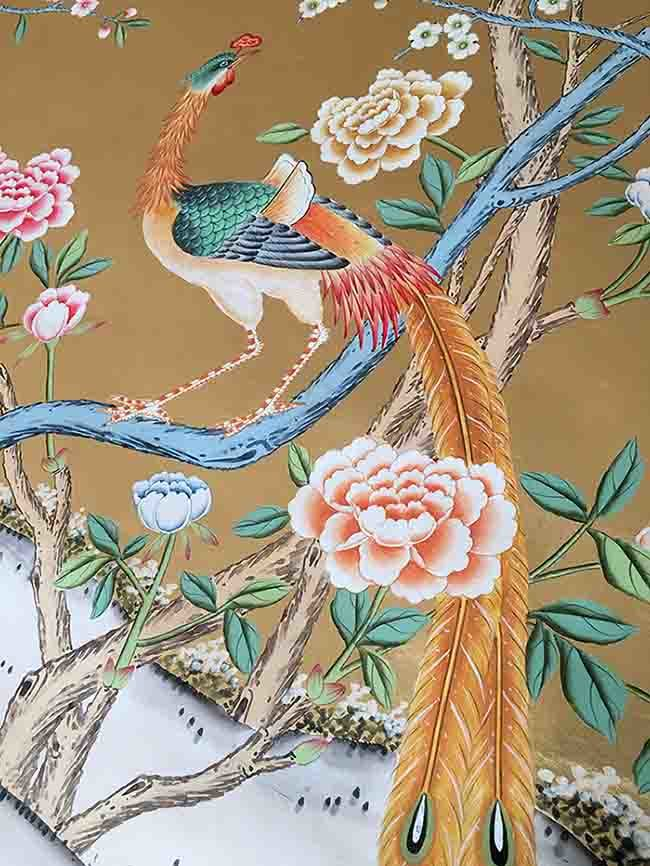 China Chinoiserie Hand Painted Wallpaper On Gold Foil Metallic For