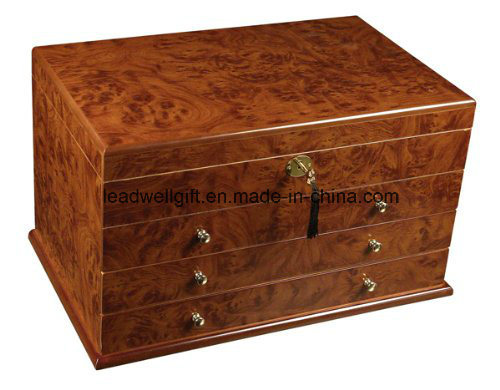 Luxury PU Leather Cigar Humidor 3 Trays-Super Capacity