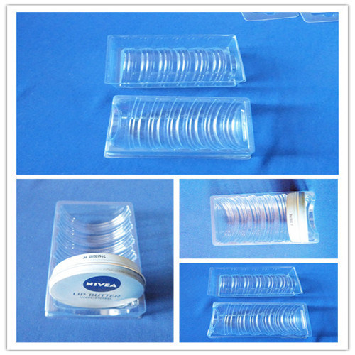 Clear Blister Trays for Inserting Round Metal Box PVC Blister Tray for Nivea