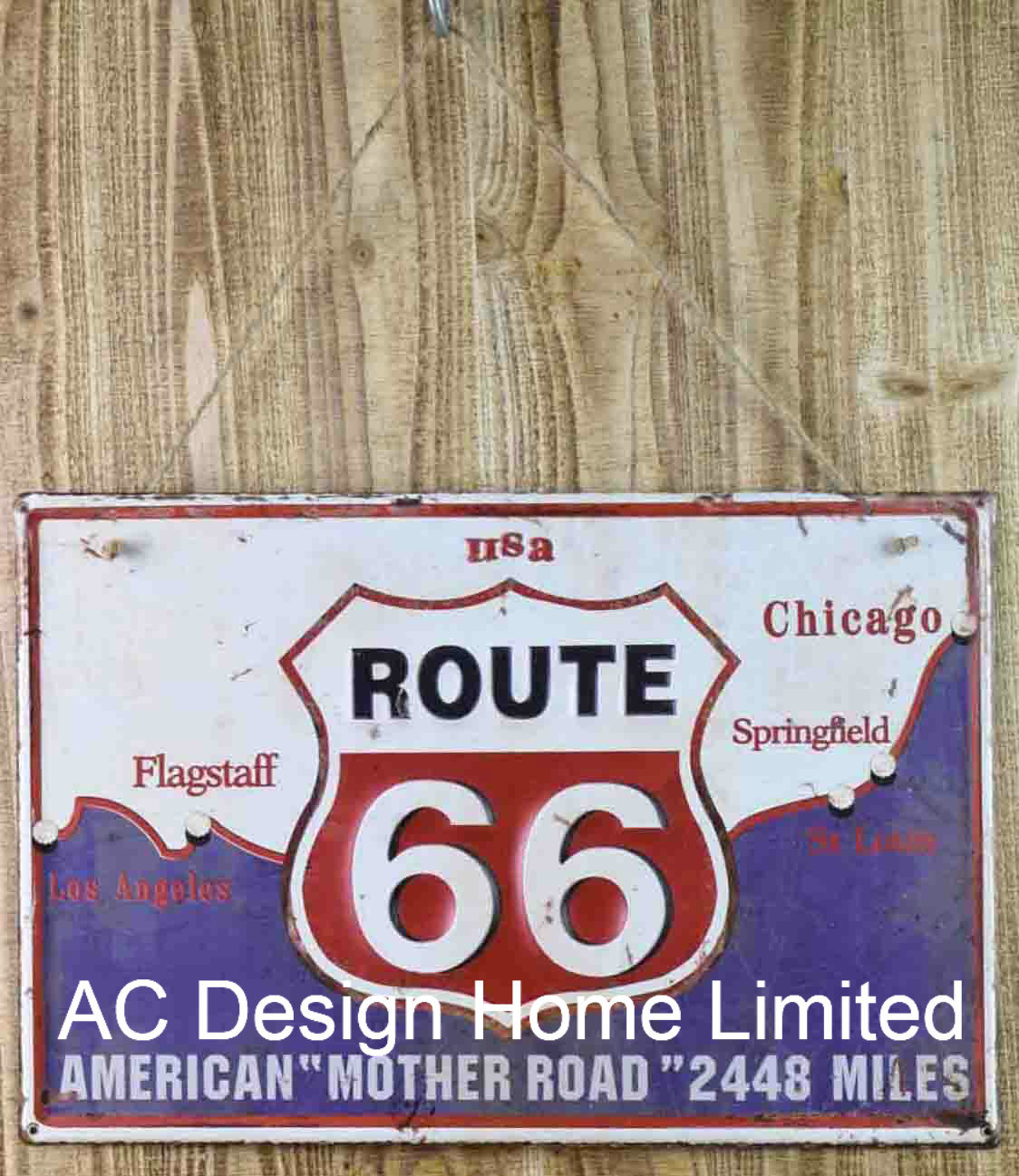 China Route 66 Design Emboss Printing Metal Wall Decor Plaque
