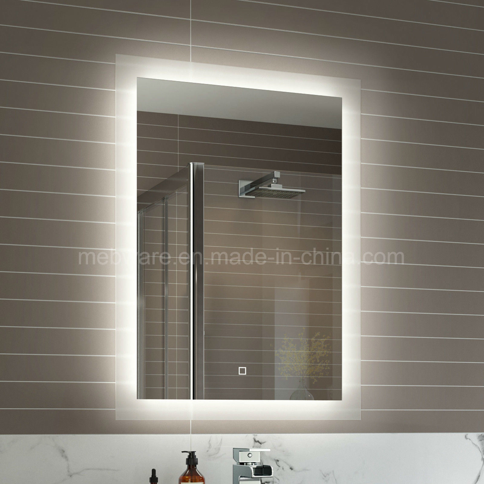 China Frameless Led Backlit Mirror Light Box Led Sensor