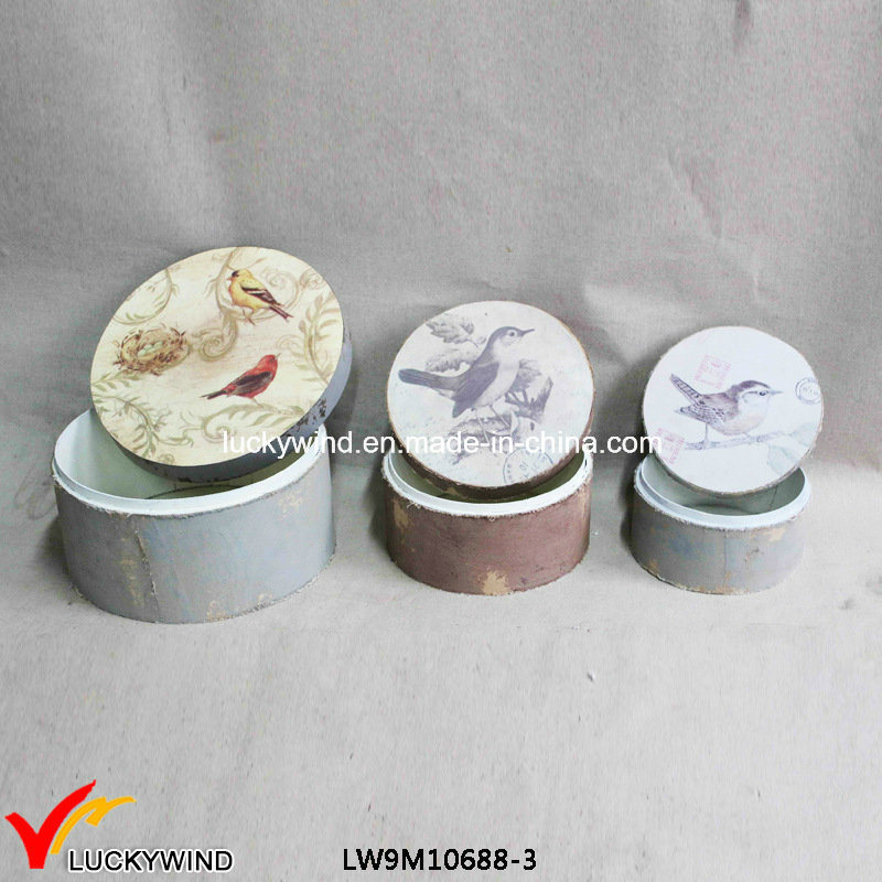 Animal Print Round Decorative Wooden Boxes